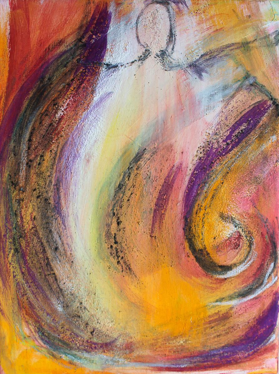 Engel des Windes   30 x 40 cm   Mischtechnik mit Vulkansand auf Leinwand