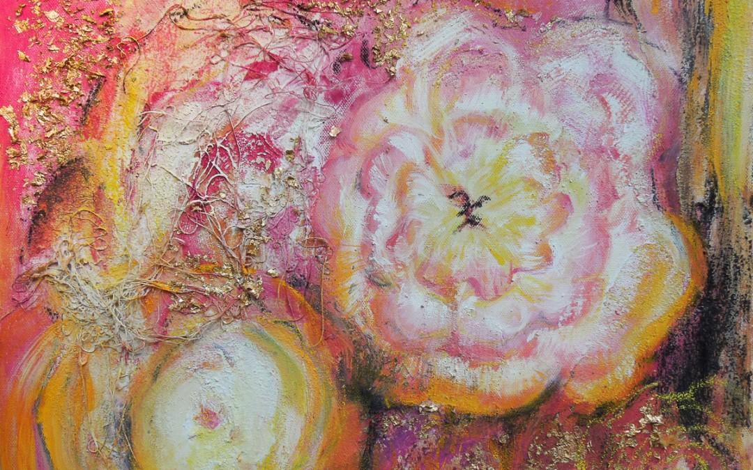 Rosengold   50 x 40 cm   Mischtechnik auf Leinwand