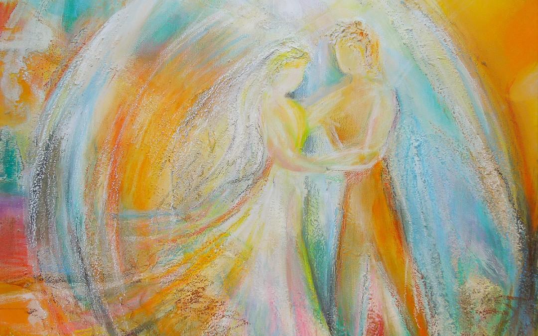 Tanz der Liebenden   60 x 60 cm   Mischtechnik auf Leinwand
