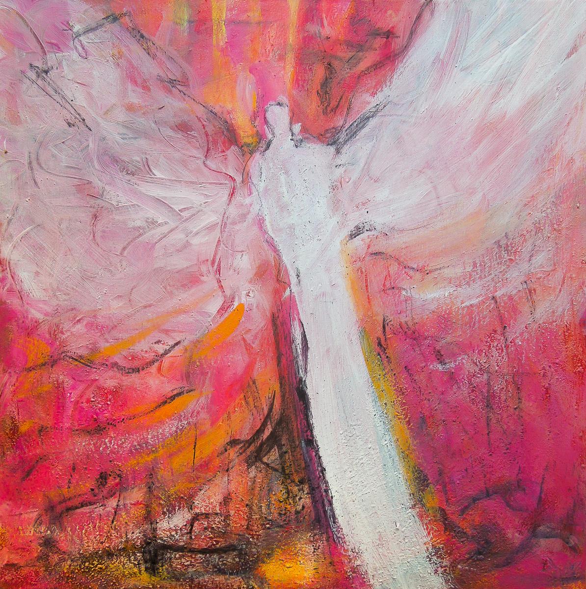 Luisas Engel   50 x 50 cm   Mischtechnik mit Vulkansand auf Leinwand