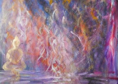 Buddha mit violetten Strahl   60 x 70 cm   Mischtechnik mt Vulkansand auf Leinwand