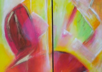 Erwachen   2 x 60 x 150 cm   Acryl auf Leinwand