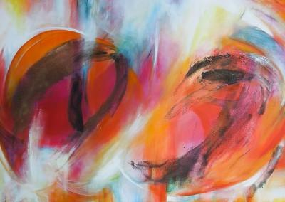 Farbenmeer   140 x 190 cm   Mischtechnik mit Vulkansand auf Leinwand