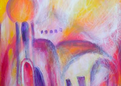 Märchenschloss   65 x 100 cm   Acryl mit Kreide auf Leinwand