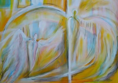 Tanz der Engel   100 x 70 cm   Acryl auf Leinwand