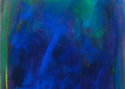 Wachsen im Blau   35 x 50 cm   Pastell auf Papier