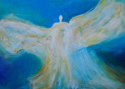 blauer Engel   60 x 90 cm   Mischtechnik mit Eitempera